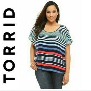 Torrid Hi-lo Back Drape Cutout Striped Top 1X